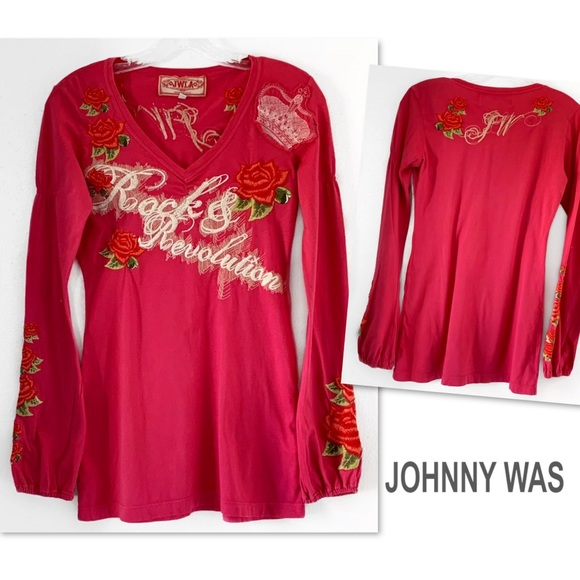 Johnny Was Tops - JOHNNY WAS JWLA ROCK REVOLUTION EMBROIDERED SHIRT